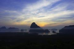 Sunrise at Phang Nga bay Stock Photos