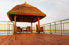 A sunrise photo of a Kiosk on Puflene Resort, Danube Delta Biosphere Reserve in Romania Stock Photo