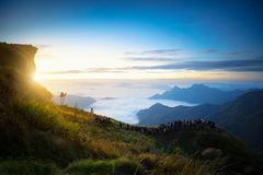 Sunrise at Phu Chi Fa Stock Photography