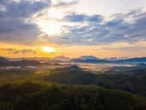 Sunrise at Phu Ta Tun Viewpoint Phang nga province. Thailand royalty free stock photo