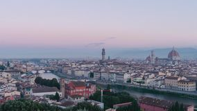 Sunrise at Piazza Michelangelo with a panning cityscape of Florence and the river Arno in Italy. Time-lapse from night to day during golden hour. The clouds are stock footage