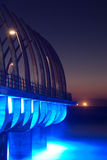 Sunrise Pier. Umhlanga Pier at sunrise with lights on Royalty Free Stock Photography