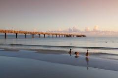 Sunrise on the Pier in Binz, Ruegen Island Royalty Free Stock Image