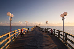 Sunrise on the Pier in Binz, Ruegen Island Royalty Free Stock Images