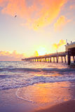 Sunrise at the pier in Dania Beach Florida Royalty Free Stock Photos