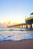 Sunrise at the pier in Dania Beach Florida Royalty Free Stock Photography