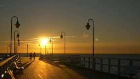 Sunrise at pier in Gdynia, Poland. Beautiful sunrise at pier in Gdynia, Poland. Copy space stock footage