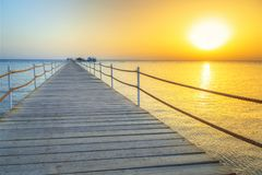 Sunrise at the pier of Red Sea in Hurghada. Egypt Royalty Free Stock Photography