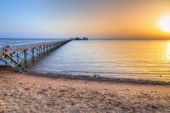 Sunrise at the pier of Red Sea in Hurghada. Egypt Stock Photography