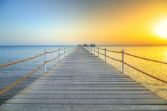 Sunrise at the pier of Red Sea in Hurghada. Egypt Stock Images