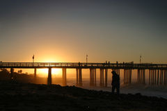Sunrise Pier Ventura stock images