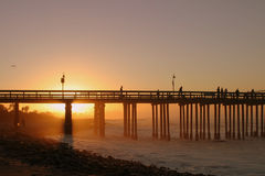 Sunrise Pier Ventura. The Ventura pier at sunrise at the beach Stock Images