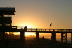 Sunrise Pier Ventura. The Ventura pier at sunrise at the beach Royalty Free Stock Photography