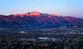 Sunrise on Pikes Peak above Colorado Springs, Colorado stock photos