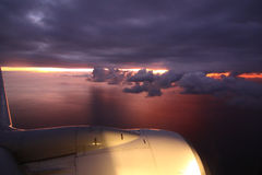 Sunrise by the plane Royalty Free Stock Photos