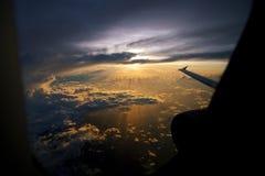 Sunrise from plane Royalty Free Stock Photo