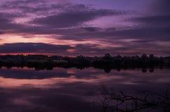 Sunrise on a pond royalty free stock photo
