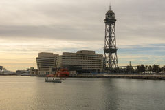 Sunrise at the port of Barcelona, at the end of the Ramblas. Bar Stock Photo