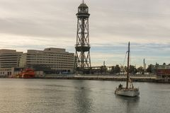 Sunrise at the port of Barcelona, at the end of the Ramblas. Bar Royalty Free Stock Photos