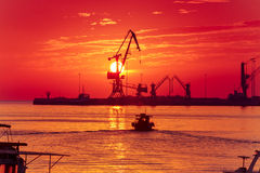 Sunrise at the port of Heraklion, Crete, Greece Royalty Free Stock Images