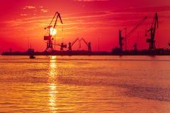 Sunrise at the port of Heraklion, Crete, Greece Royalty Free Stock Photo