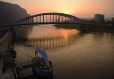 Sunrise in port Stock Images