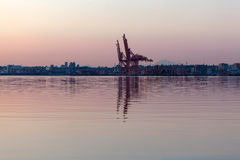 Sunrise at Port of Vancouver BC Stock Images