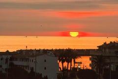 Sunrise Portbou Costa Brava Stock Images