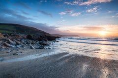 Sunrise at Portholland in Cornwall Stock Photos