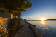 Sunrise at Porto Heli, Greece. View of a beautiful sunrise at Porto-Heli bay, Peloponnese - Greece Stock Image
