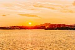Sunrise at Porto Rotondo at the Mediterranean Sea Sardinia in Italy. Sunrise at Porto Rotondo at the Mediterranean Sea in Costa Smeralda in Sardinia in Italy royalty free stock photography