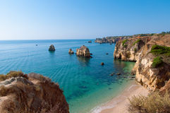 Sun in Portugal, Lagos. Amazing cliffs in Lagos, Portugal Royalty Free Stock Photo