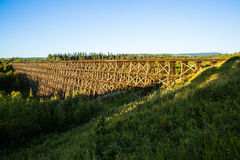 Sunrise on Pouce Coupe historic railroad trestle Stock Images
