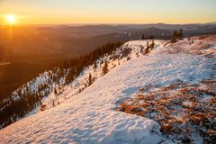 Sunrise at the Praire Mountain near Bragg Creek, Canada, Closest mountains to Calgary city, Praire mountain lookout in the winter. Sunrise at the Praire Mountain stock photography