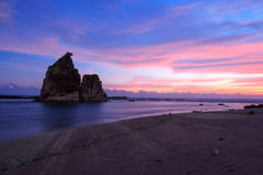 Sunset sawarna beach Stock Image