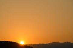 Sunrise, Pushkar, Rajashtan, India. Sunrise over mountains in Pushkar Royalty Free Stock Images