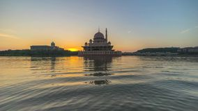 Sunrise At Putra Mosque, Putrajaya Malaysia stock video