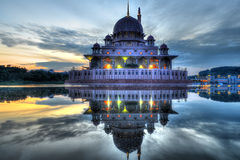 Sunrise at Putra Mosque. Sunsire at Putra Mosque, Putrajaya, Malaysia in HDR Royalty Free Stock Images