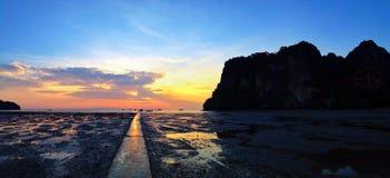 Sunrise at Railay bay beach Royalty Free Stock Image