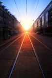 Sunrise rails Royalty Free Stock Image