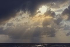 Landscape sunrise Songkhla Sea. Sunrise and rain clouds Songkhla Sea stock photos