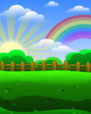 Sunrise rainbow field. Sunrise with rainbow field  illustration background Royalty Free Stock Photography