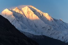 Sunrise in the Rakaposhi mountains peak in the Karakoram mountai Stock Photography