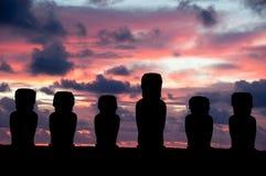 Sunrise in Rapa Nui. Sunrise with moais in Rapa Nui stock photography