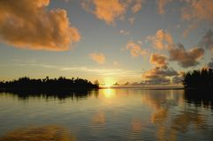 Sunrise at Rarotonga 2. WS Sun rising over the reef at Rarotonga, Cook Islands, Oceania, South Pacific Royalty Free Stock Image