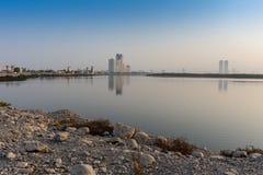 Sunrise in Ras Al Khaimah along the Corniche stock photo