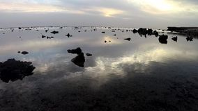 Sunrise and reflection of clouds in the water over the sea, coastal reef at low tide. stock video