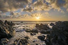 Sunrise and reflection at hannafore point Looe uk Stock Images