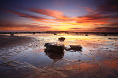 Sunrise reflections across Long Reef Australia Royalty Free Stock Photos
