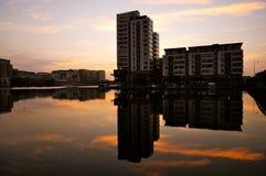 Sunrise. Reflexion buildings dublin ireland Stock Image